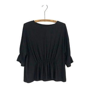 OAK + FORT Black Peplum Cinched Blouse Office Work